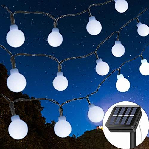 Solar String Lights Garden, 8 Modes 50 LED Globe String Lights Outdoor Solar Powered Fairy Lights Waterproof Mini Ball Decorative Light for Garden Patio Yard Home Wedding Party (Cool White)