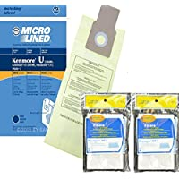 10 Kenmore Type U Allergen Filtration Vacuum Bags for Kenmore Vacuums, 50105, 50688, 50690 Includes (4) CF-3 Motor Chamber Filters