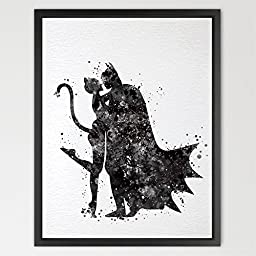 Dignovel Studios 8X10 Batman and Catwoman Inspired Watercolor Painting Print Fine Art Print Wall Art Super Hero Home Decor N427