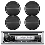 New Kenwood Marine Boat Outdoor Bluetooth CD MP3 Player USB iPod iPhone Input Pandora AM/FM Receiver 4 x EnrockMarine 6.5'' Marine Waterproof Speakers Package - Marine Audio Kit (Black)