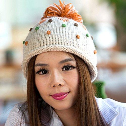 del Coreana Sombrero Gran White WHITE en Ola Color Invierno Knit Boina Maozi y Encantadora de Bola de de otoño Frijol del qSH6xv5Zn