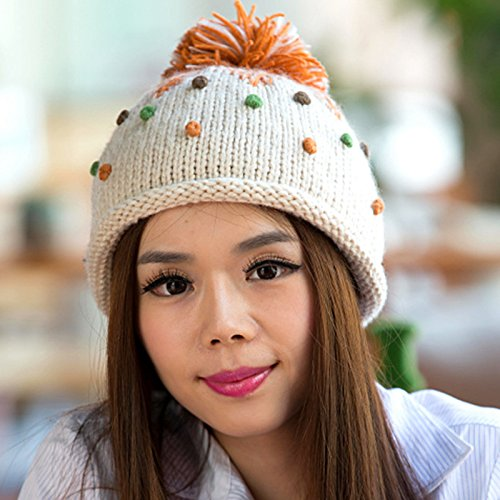 del otoño Invierno WHITE en de Coreana Bola Maozi Knit y de Ola White Gran Color Frijol Encantadora de del Boina Sombrero qxYnRUTnX