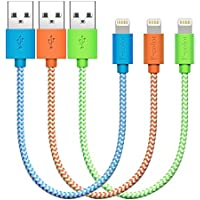 Lightning Charger, 3 Pack 20cm F-color Apple MFi Extra Short Braided Cable Cord for iPhone 6S 6 Plus 5S 5C 5, iPhone SE, iPad Air 2 Mini 4 iPad Pro iPod Touch 5 iPod Nano 7 Orange Green Blue