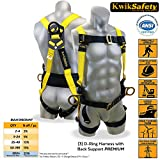 KwikSafety 3D Ring Industrial Fall Protection Safety Harness w/ Back Support | OSHA Approved Full Body Personal Protection Equipment | Construction Carpenter Scaffolding Roofing ANSI Compliant Gear