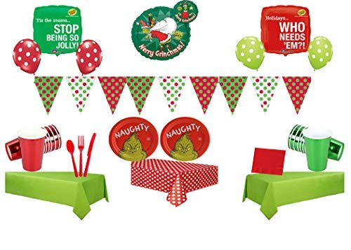 The Grinch Naughty Party Pack for 16 Guests with Balloons