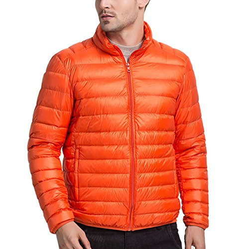 Orange Featherweight Coat Deep Puffer Jacket Men's Down For HDH Padded Jacket Zip Packable Protection Warmth 64aIZq