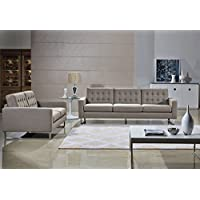 Angela Grey Fabric Modern Sofa and Loveseat Set (Cappuccino)