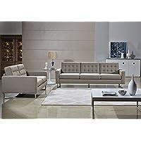 Angela Grey Fabric Modern Sofa and Loveseat Set (Cappuccino)