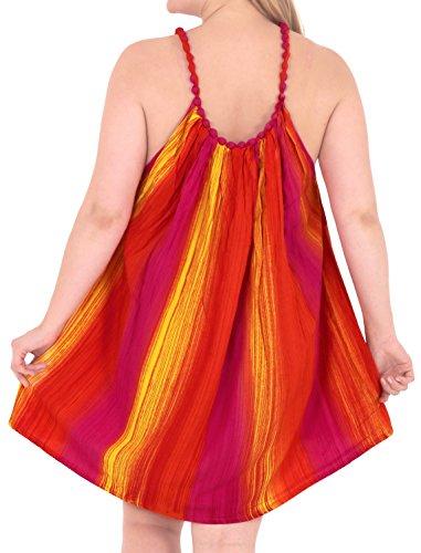 La Leela vestido de noche de las mujeres traje de baño de la playa de mano del vestido lazo tinte púrpura ocasional encubrir naranja