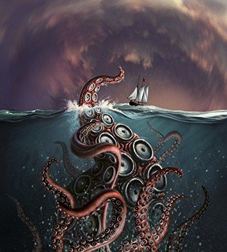 - A fantastical depiction of the legendary Kraken Poster Print (13 x 15)