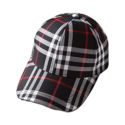 - LittleFatBear Plaid Baseball Cap Spring & Autumn Plaid Hipster Hat Men & Women Visor. Black