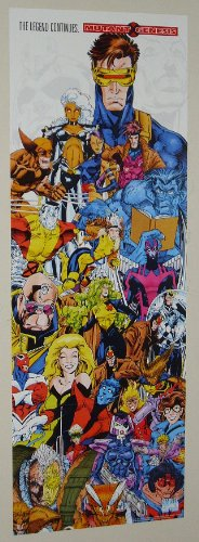 1991 X-Men poster banner! Rare vintage original 1990's Marvel Comics 37 by 13 1/2 factory folded X-Men promotional poster banner, with art by Jim Lee, Rob Liefeld, Alan Davis, and Gil Kane! Scarce vintage Uncanny X-Men promo poster shows Wolverine, Rogue, Psylocke, Gambit, Cable, Excalibur, X-Force, Captain Britain -