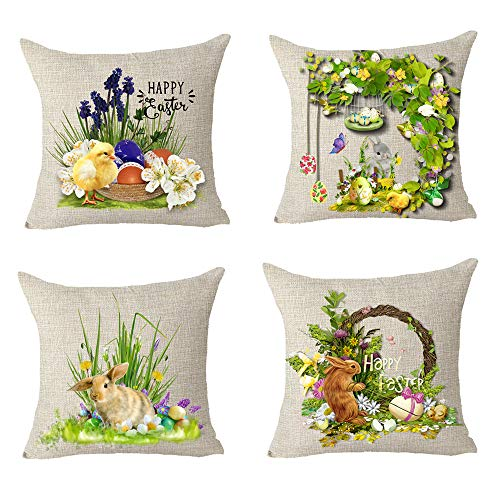 FELENIW Set of 4, Happy Easter Cute Animal Bunny Rabbit Chick Colored Egg Lily Flower Blessing Gift Cotton Linen Decorative Throw Pillow Cover Cushion Case 18x18 inches