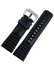 28mm Black Real Leather Watch Strap Stitching Fit SevenFriday Watch P1P2P3 M1M2 (Black with Blue Stitching)