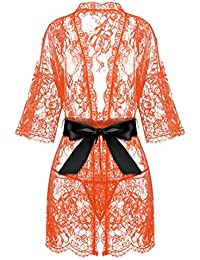 977b27ab1d Women s Kimono Eyelash Lace Robe Babydoll Lingerie Mesh Chemise Nightdress  Nightgown