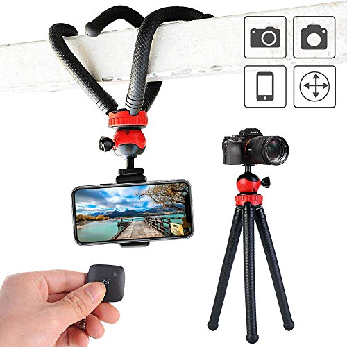 Flexible and Sturdy Phone Tripod 12 Inch Mini Tripod Stand Smartphone Tripod and Action Camera Tripod for GoPro Camera iPhone Android Phone