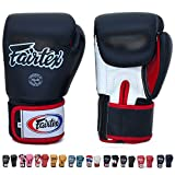 Fairtex Gloves Muay Thai Boxing Sparring BGV1 Size 8, 10, 12, 14, 16 oz in Black, Blue, Red, White, Pink, Classic Brown, Emerald Green, Thai Pride, US, Nation and more (Black/White/Red,14 oz)