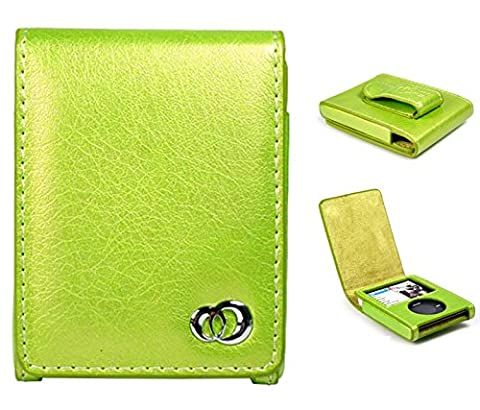 Apple 3rd Generation iPod Nano 4gb 8gb PU Leather Flip Cover Case with Play Window and Belt Clip (Green (Ipod Nano Cases With Clip)