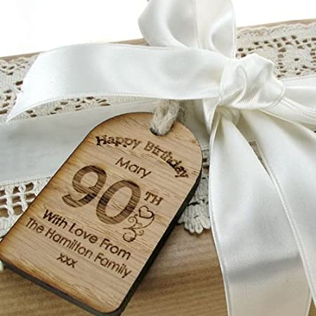 Personalised 90th Birthday Gift Bottle Tag Engraved Label