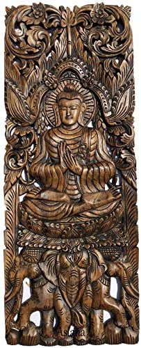 Buddha and Floral Carved Wood Wall Decor Panels. Asian Home Decor