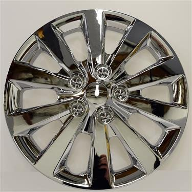 New Wheel Covers Hubcaps Replacements Fits 2013-2018 Nissan Sentra; 16 Inch; 10 Spoke; Chrome Plated; Plastic; Set Of 4 - Chrome Spoke Hubcaps