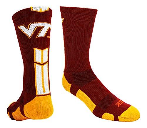 Virginia Tech Baseline 3.0 Crew Socks (Cardinal/Orange/White, Small)
