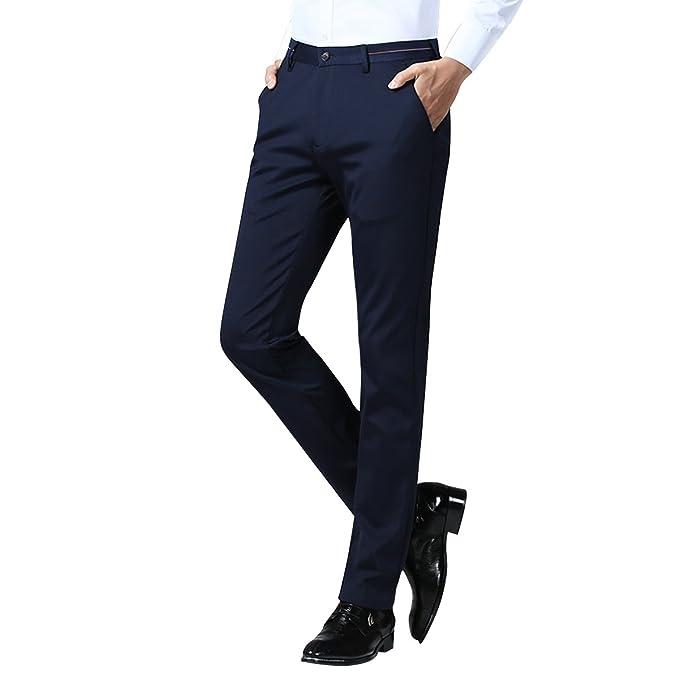 Zhhlinyuan Pantalón de Traje Entallado para Hombre Slim ...