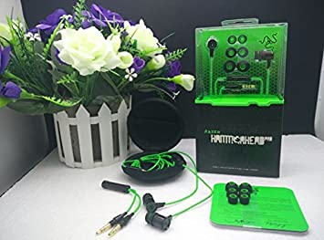 Mu 3,5 mm en oído aislamiento del ruido estéreo de graves de martillo Tiburón Razer Pro Auriculares y auriculares con micrófono + Retail Caja Gaming Headset, Azul: Amazon.es: Electrónica