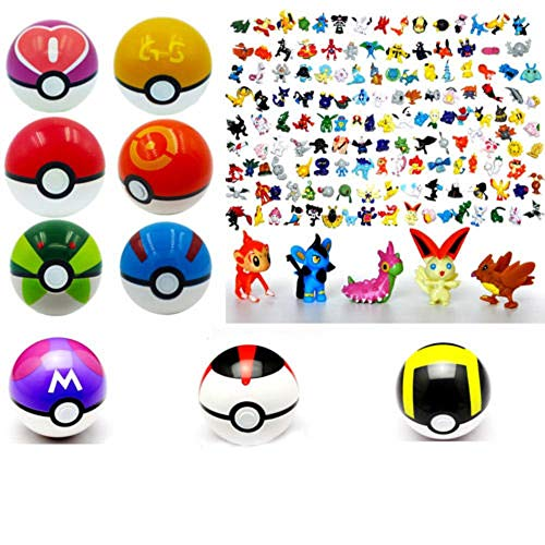 9pcs Pokemon Pokeball + 24pcs Action Figures Random Cosplay Pop-up Ball Kid - Ball Pokemon