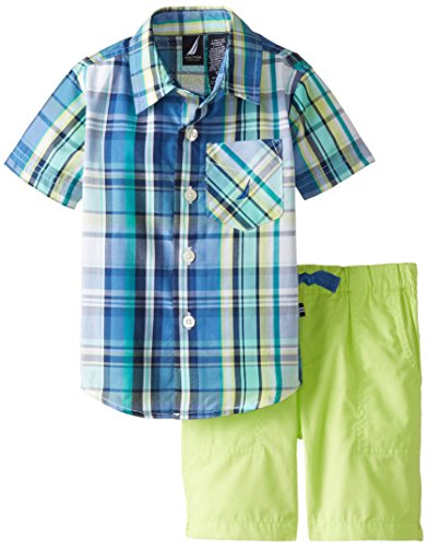 Nautica Bab Baby Boys' Newborn 2 Pc Short Sleeve Small Plaid with Drawstring Short