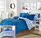 Chic Home 7 Piece Heathville Pinch Pleated Chevron Print REVERSIBLE,Twin X-Long Bed In a Bag Comforter Set Blue with Sheets