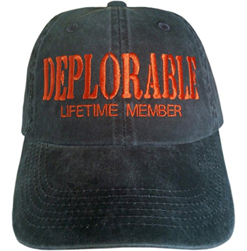 DEPLORABLE LIFETIME MEMBER Hat ~ Trump Hat ~ Make America Great Again (Black with Orange Embroidery)