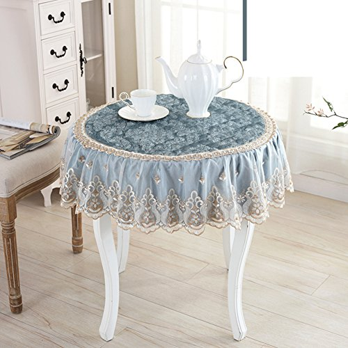 Round table cloth lace burn-proof oil-proof disposable tea table mats table cloth round tablecloth rectangle dining desk mats-A diameter160cm(63inch) by Andystore