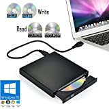 External CD/DVD Drive for Laptop PC & Notebook Windows 10 - USB Optical Slim Combo Writer Burner for CD-R (24x Speed) & CD-RW (8X Speed) – Reader Player for CD-ROM (24x) & DVD-ROM (8X) (Black)