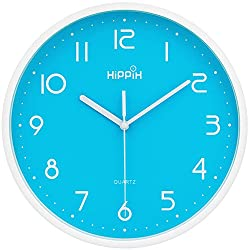 HIPPIH 10 Inch Silent Wall Clock - Non-Ticking Universal Indoor Decorative Clocks for Office/Kitchen/Bedroom/Living Room,Blue
