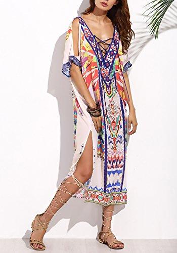 14550f46826b Dresses Estivi Da Casual Con Corta Cerimonia V Bohemian Vestiti Stile  Abbigliamento Etnico Vestito Scollo Lungo Spacco Spiaggia Manica Larghi  Donna ...