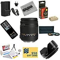 Sigma Super Zoom 18-250mm f/3.5-6.3 DC Macro OS HSM (Optical Stabilizer) 883-101 Lens With 3 Year Extended Lens Warranty For the Canon EOS 450D 500D 1000D T1i XSi XS Kiss F X2 X3 DSLR Digital Camera Includes 3 Piece 62mm Pro Filter Kit (UV, CPL, FLD) + Replacement Battery Pack for the Canon LP-E5 LPE5 1800MAH + 1 Hour AC/DC Battery Charger + Remote Control + Deluxe Lens Cleaning Kit + LCD Screen Protectors + Mini Tripod + 47stphoto Microfiber Cloth Photo Print !