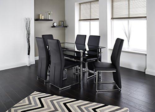 Athena 150 cm, cristal y cromo mesa de comedor con 4 ó 6 sillas de ...