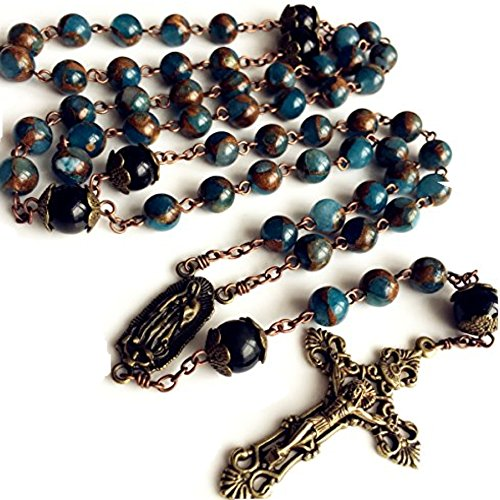Our Lady Of Guadalupe Rosary (elegantmedical Football STONE bead Black Obsidian Our Lady Of Guadalupe Medal Rosary Jesus Christ Cross CRUCIFIX CATHOLIC NECKLACE)
