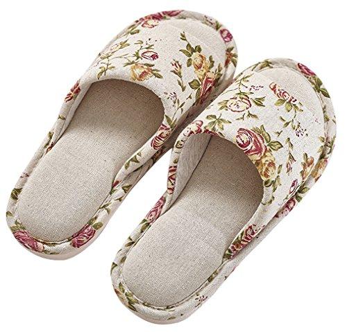 Blubi Womens Été Floral Lin Confortable Dames Pantoufles Chaussons De Chambre