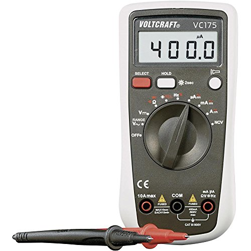 Voltcraft Multimeter VC175 Digital Handheld for AC DC Current, Capacitance, Frequency amd Duty Cycle Measurement; 4000 Counts with Flashlight and Backlight; CAT III 600 V Including 9V Battery -  CEI Conrad Electronic International (HK) Ltd.