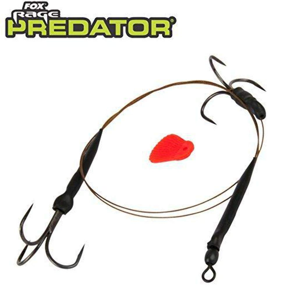 4 X TWIN TREBLE PIKE FISHING RIG SIZE 8 BARBED DEADBAIT SNAP TACKLE WIRE TRACE
