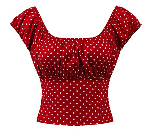 Gathered Bust Top (Sara USA Red & White Polka Dot Peasant Top (S))