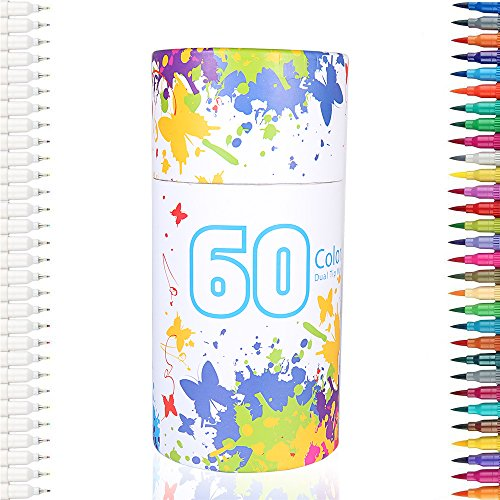 60 Colors Dual Tip Brush Pens Art design Markers 0.4mm Fine liners & Brush Tip Highlighters Watercolor Pens Set for Adult Coloring Books, For Coloring Art Sketching Calligraphy (Tipped Twin Set)