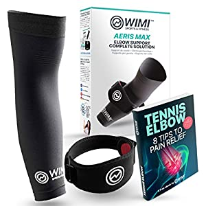 WIMI Sports & Fitness 1 Tennis Elbow Brace & 1 Copper Compression Sleeve - (1-Count Each) - Eases Tennis Elbow & Arm Pain + Provides Relief & Support for Sore Muscles & Tendons