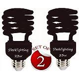 SleekLighting 23 Watt T2 Black Light Spiral CFL Light Bulb, Blacklight Bulbs for Parties 120V, E26 Medium Base-Energy Saver (Pack of 2)