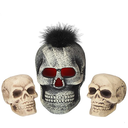 Hallowenn Skelton Skulls 3 Pc Set. 1 with LED Lights. Realistic and Scary Looking Use for Home Décor Haunted House Front Yard and Grave (Foam Skull)
