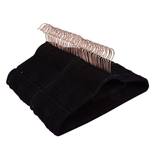 50 Pack Black Velvet Hangers - Non Slip Hangers with Rose Gold Hooks and Accessory Bar - Thin Hangers - Non Slip Hangers, Black, 17.5 x 9.2 x 0.2 Inches