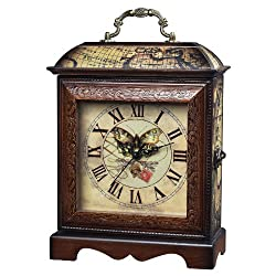 Sterling 118-006 Butterfly Display Wooden Clock, Brown