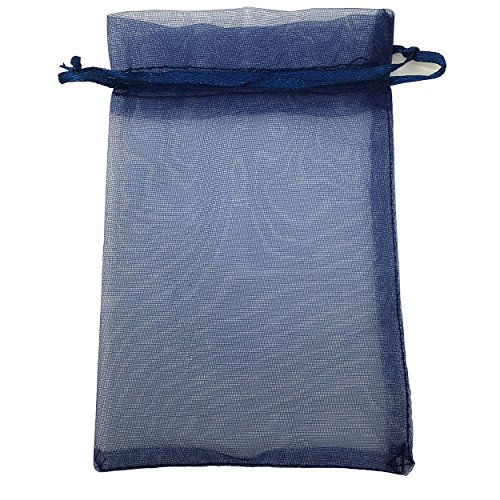 Sosam 100PCS 3x4 Inches Organza Drawstring Pouches Jewelry Party Wedding Favor Gift Bags (3x4, Navy - Navy Bags Organza 3x4 Blue
